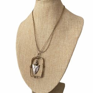 Artisan wire wrapped framed arrowhead necklace